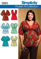 Simplicity  3893 Misses or Plus Size Knit or Woven Top 20-28