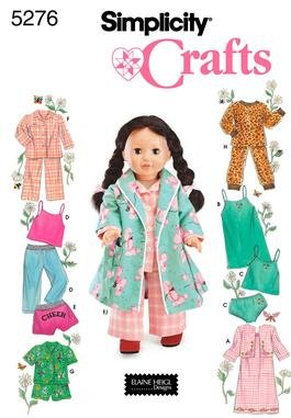 Simplicity 5276 Doll Clothes Sleepwear and Loungewear