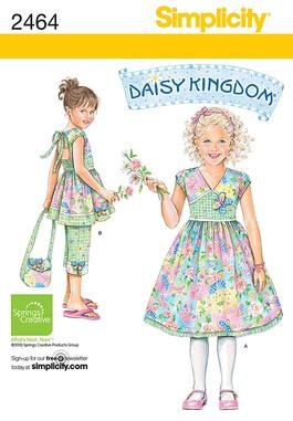 Simplicity 2464 Daisy Kingdom 3-8 Child's dress, top, Capri pants and purse