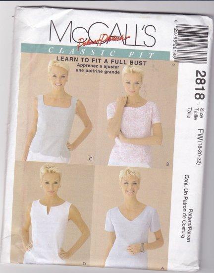McCalls 2818 Classic Fit Tops 18-22