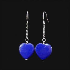 Handmade Blue Lapis Chained Heart Earrings