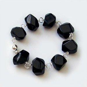 Chunky Black Onyx Link Bracelet