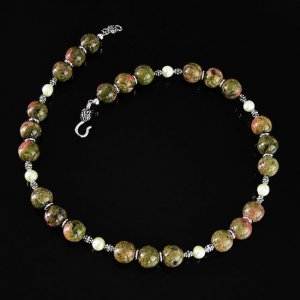 Unakite and Pearl Necklace - Handmade in USA