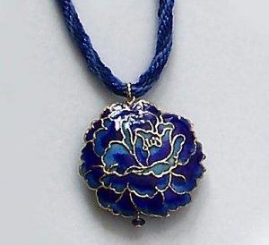 Blue Cloisonne Necklace on Handmade Kumihimo Braid