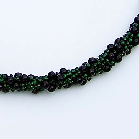 Green and Black Hand Beaded Rope Necklace