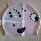 Pink kid swimming silicon cap/fish bath cap