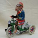 teenager collectible TIN WIN UP toy Monkey Ridding bicycle
