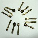 Lot of 900 Dollhouse mini Brass spoon fork toy/charm