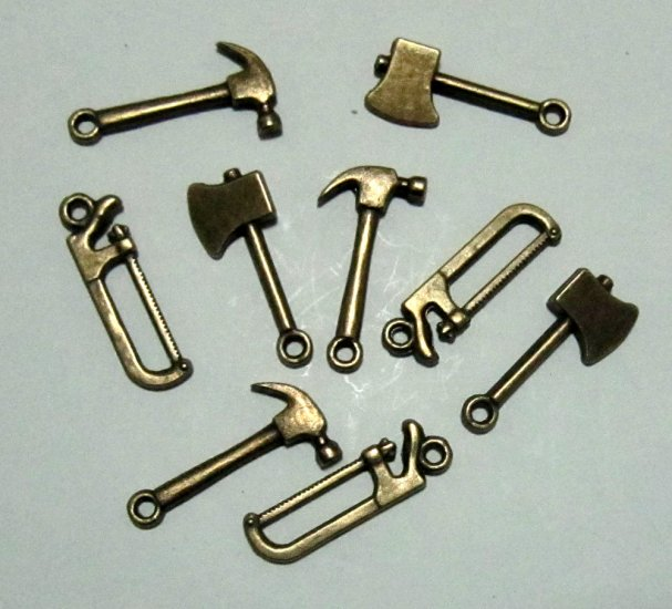 Lot of 900 Dollhouse mini Brass tool boy toy/pewter charm