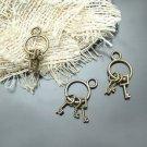 Lot of 200pcs mini Brass Keys on Ring dollhouse miniature toy/jewelry Charm CM643