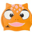 Orange Bear Kid Swimming Pool Fish Swim Silicon Fabric Cap/Bathing Cap