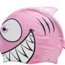 Pink Kid Swimming Pool Happy Fish shark Swim Silicon Fabric Cap/Bathing Cap