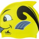 Yellow Kid Swimming Pool Happy Fish Swim Silicon Fabric Cap/Bathing Cap