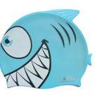 Blue Kid Swimming Pool Happy Fish shark Swim Silicon Fabric Cap/Bathing Cap