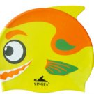 Orange Kid Swimming Pool Happy Fish shark Swim Silicon Fabric Cap/Bathing Cap