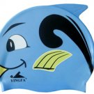 Blue Kid Swimming Pool Happy Fish shark Swim Silicon Fabric Cap/Bathing Cap B2