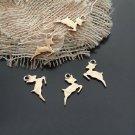 Lot of 20pcs mini Gold Deer dollhouse miniature toy/jewelry bracelet metal alloy Charm
