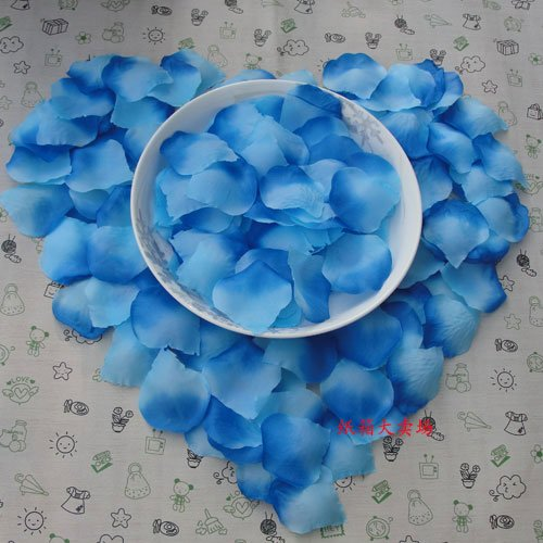 Lot of 480pcs Fake Wedding Blue Rose Petal Life Size