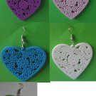 Lot of 5 Pairs Earring/ 5 Designs wood heart