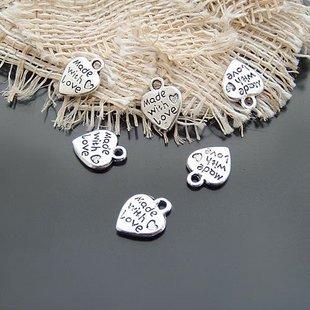 1500pcs Dollhouse Miniature toy Heart jewelry bracelet metal Charm Bead Made with Love CM633