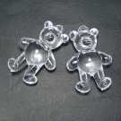 2pcs Acrylic Transparent Clear Bear Bead Finding 58 x 40mm