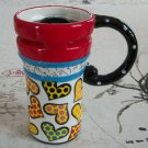 Hand Painted Cup Mug Vase Studio Heart Design