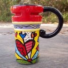 Hand Painted Cup Mug Vase Studio Heart Design B2