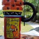 Hand Painted Cup Mug Vase Studio Dog Design