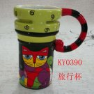 Hand Painted Cup Mug Vase Studio Cat Design B3