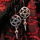 Goth Inverted Pentagram & Spike Earrings Earring WGW Satanic