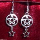 Goth Inverted Pentagram & Star Earrings Earring WGW Satanic