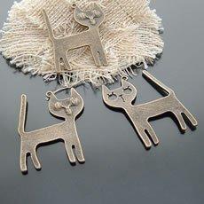 Lot of 100pcs CAT 44 x 33mm dollhouse miniature toy/jewelry bracelet  metal alloy Charm