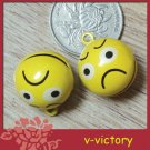 10 x Cartoon Bell Dog Pet Cat Collar Angry Icon Face 2cm