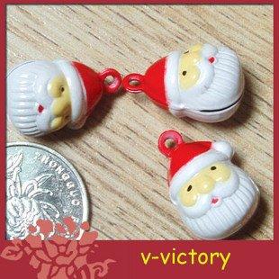 10 x Cartoon Bell Dog Pet Cat Collar Santa Claus Head 2cm
