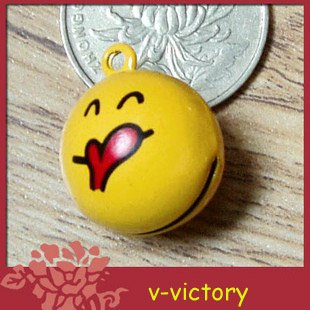 10 x Cartoon Bell Dog Pet Cat Collar Smile Face Icon Giggle 2cm