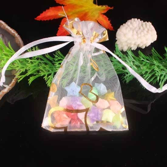 100pcs 7 x 9cm White Heart Organza Bag Jewelry gift Bag Wedding Accessory Pouch