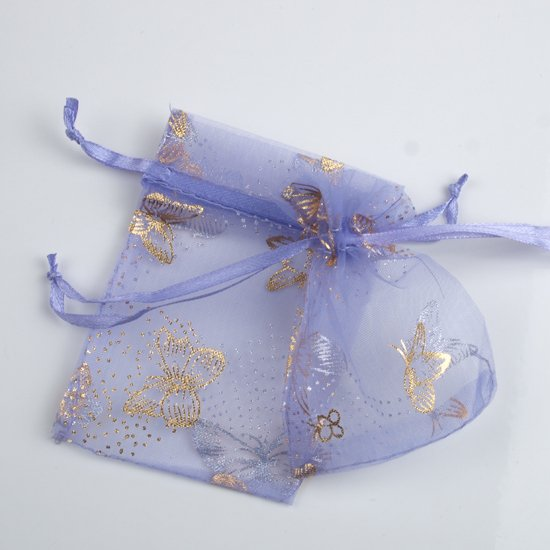 100pcs 7 x 9cm Purple Butterfly Organza Bag Jewelry gift Bag Wedding Accessory Pouch