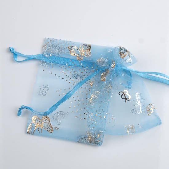 100pcs 7 x 9cm Blue Butterfly Organza Bag Jewelry gift Bag Wedding Accessory Pouch