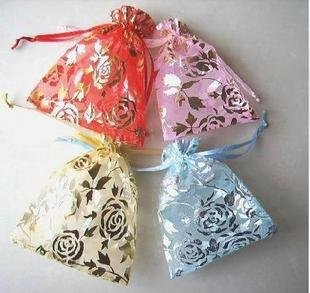 100pcs 7 x 9cm Rose Organza Bag Jewelry gift Bag Wedding Accessory Pouch