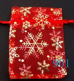 100pcs 9 x 12cm Red Snowflake Organza Bag Jewelry gift Bag Wedding Accessory Pouch