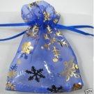 100pcs 9 x 12cm Blue Snowflake Organza Bag Jewelry gift Bag Wedding Accessory Pouch