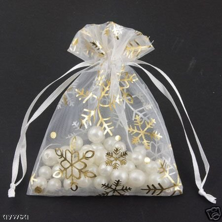 100pcs 9 x 12cm White Snowflake Organza Bag Jewelry gift Bag Wedding Accessory Pouch