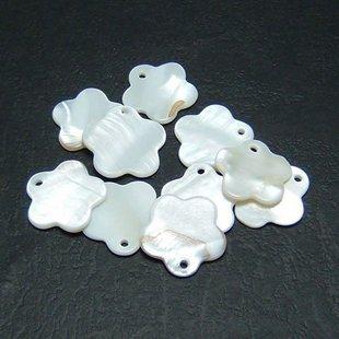 40pcs Shell Bead White Flower Fitting 17mm