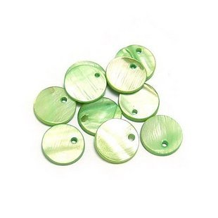 100pcs Green Shell Bead Round Disk Fitting 12.5mm