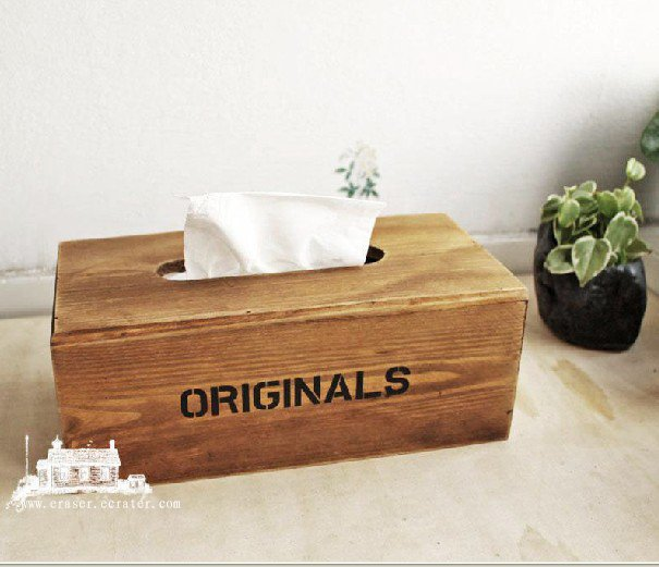 Original Wood Wooden Stack BOOK tissue box holder souvenir/gift