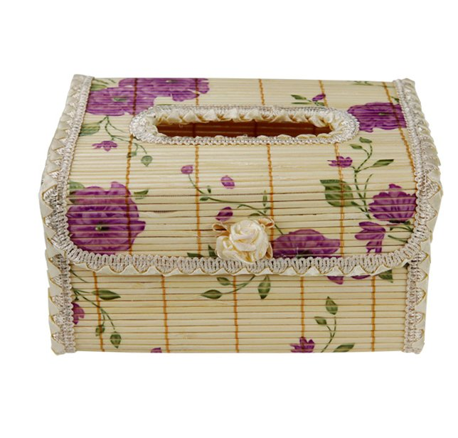 Original Bamboo Tissue BOOK  holder souvenir/gift Purple