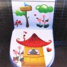 2pcs Cartoon House Kid Wall Sticker Art Toilet Bathroom Vinyl Decor