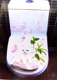 2pcs White Cat Wall Sticker Art Toilet Bathroom Vinyl Decor