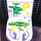 2pcs Cat Lotus Wall Sticker Art Toilet Bathroom Vinyl Decor