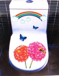 2pcs Daise Bee Wall Sticker Art Toilet Bathroom Vinyl Decor